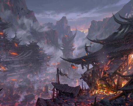 宮殿城堡山景游戲原畫