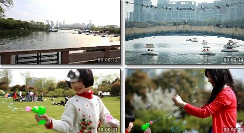 城市公园实拍片段