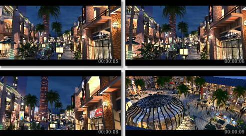 商业街夜景三维片段
