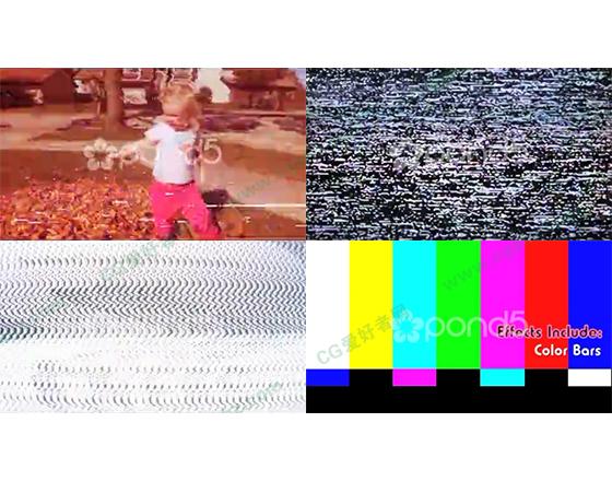 电视信号故障、干扰等造成的噪点、雪花特效AE模板