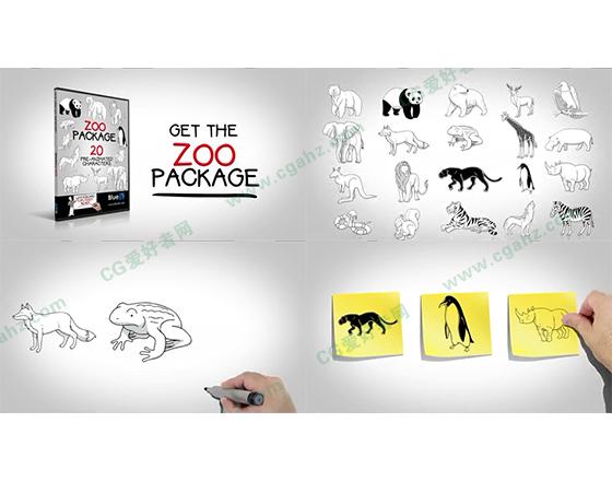 动物角色与手绘手势的AE模板