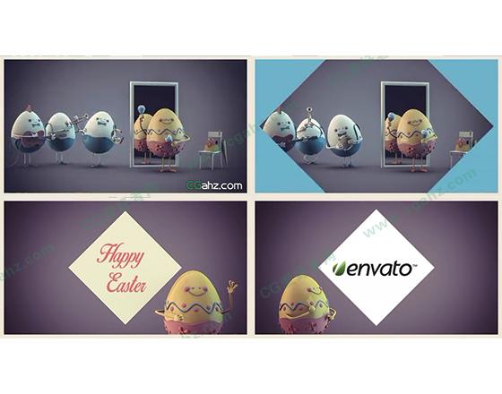 可爱的复活节蛋先生祝你节日快乐AE模板