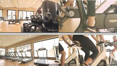 健身房,室内健身器材实拍片段