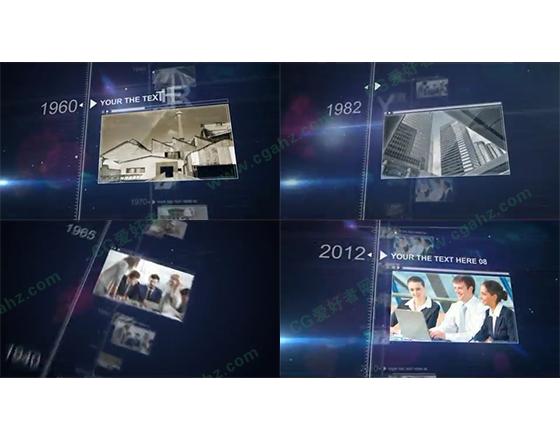 记录发展历程的时间线图文展示AE片头模板