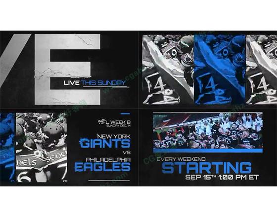 破碎标题与体育节目的宣传预告片头AE工程