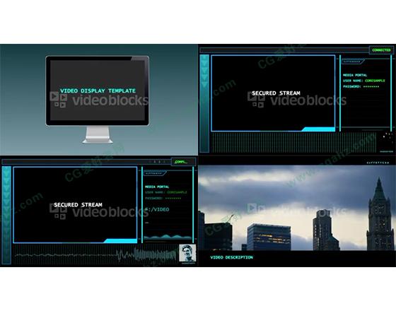电脑屏幕上的科技内容展示AE工程