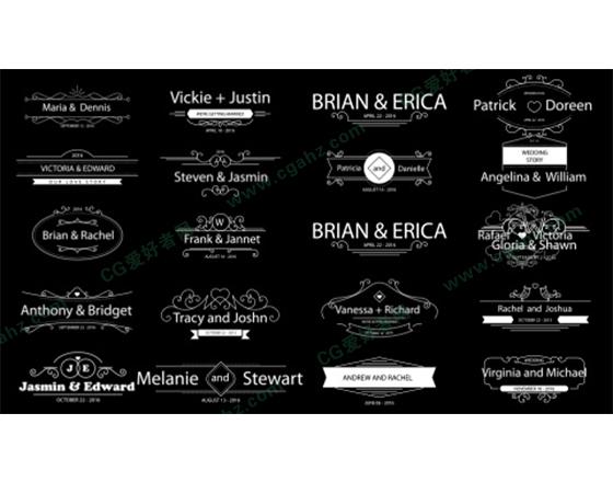 清新简约的婚礼主题标签设计AE源文件vol.04