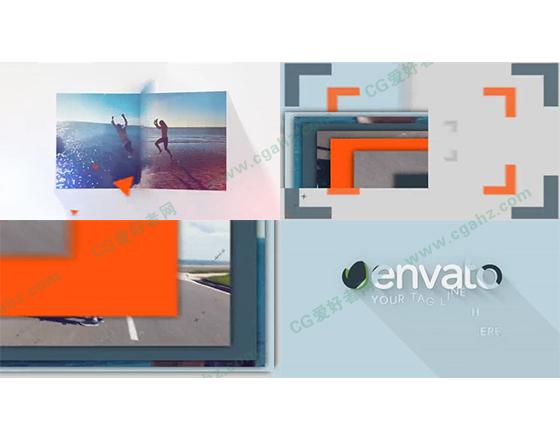 图像的翻页与重叠揭示出logo标志的AE工程