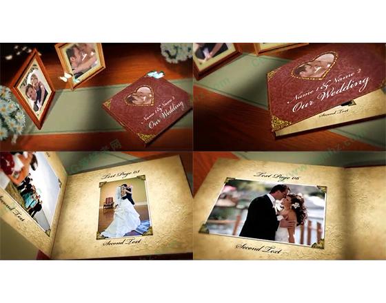 怀旧感动的婚礼纪念相册AE模板