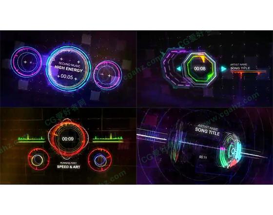 科幻动感的电子音频均衡器动画特效AE模板