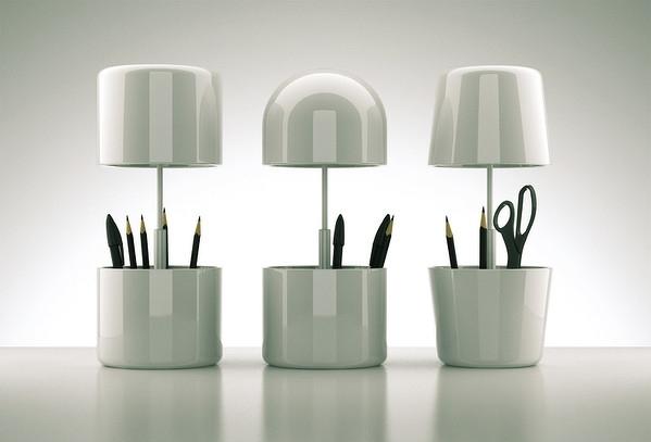 兩用筆筒、臺燈設計