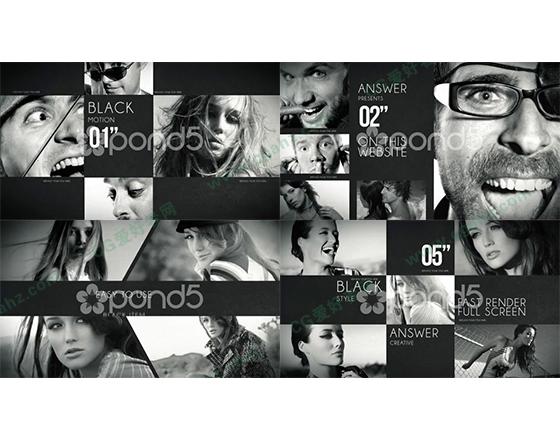 时尚黑白画面分割拼接式图像展示AE模板