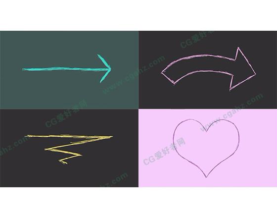 20例可爱有趣的铅笔手绘线条元素AE工程