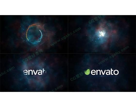 星空中的魔法粒子线条旋转揭示出标志的AE模板