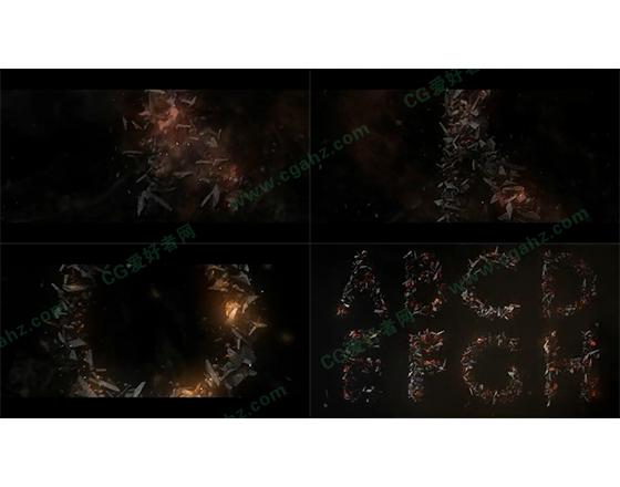 黑暗史诗般的碎石字母特效AE模板