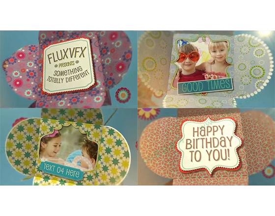 漂亮的花盒子儿童生日相册AE模板