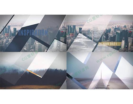 优雅的多边形分割拼接式全屏图像展示AE模板
