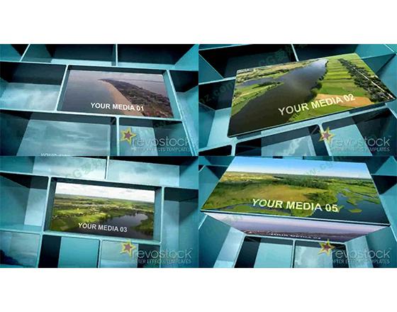 三维迷宫方格中的媒体内容展示AE模板