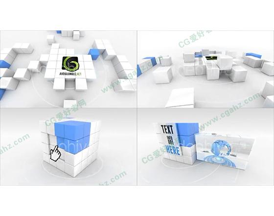 时尚现代的三维魔方变形展示效果AE包装模板