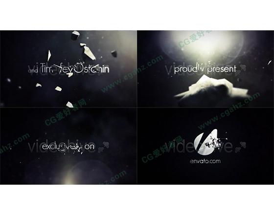 黑暗中的断裂文字动画特效电影预告AE模板