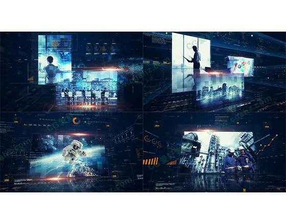数字科技全息样式的企业/栏目宣传介绍AE模板
