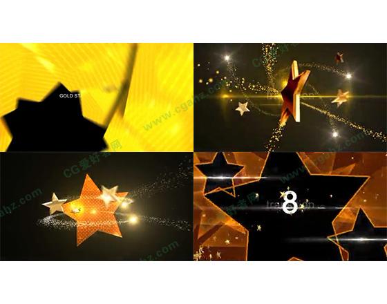 华丽的黄金五角星转场过渡素材包AE模板
