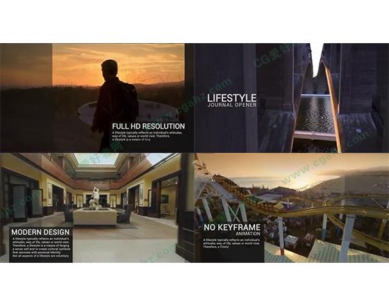 半透明滑动蒙版样式的动态视频杂志片头AE源文件