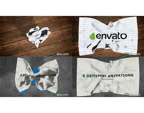 褶皱纸团展开和平整纸团揉捏的揉纸动画特效AE模板