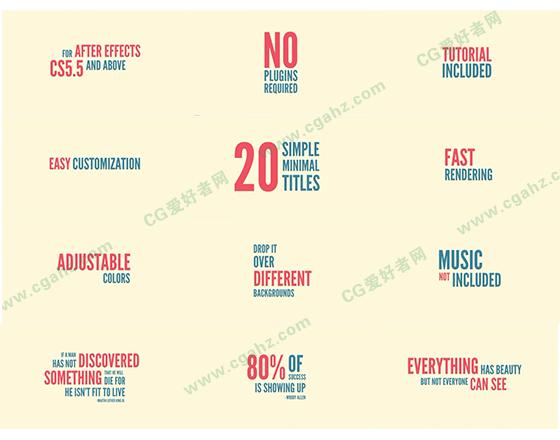 20组简单迷你的文字标题排版动画AE源文件