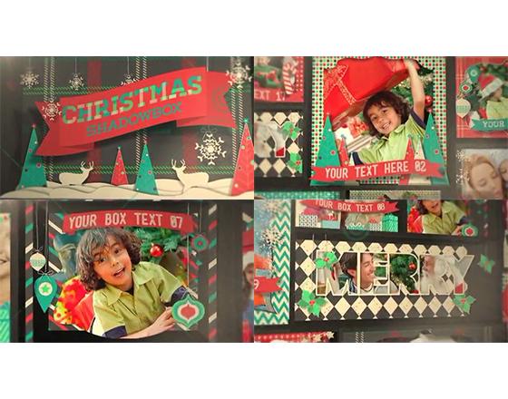 卡通剪纸装饰风格的圣诞家庭照片墙AE工程