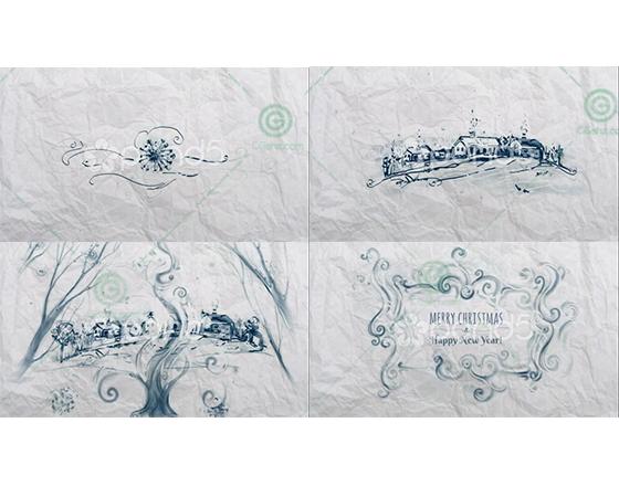 风格化钢笔手绘样式的圣诞祝福贺卡AE模板