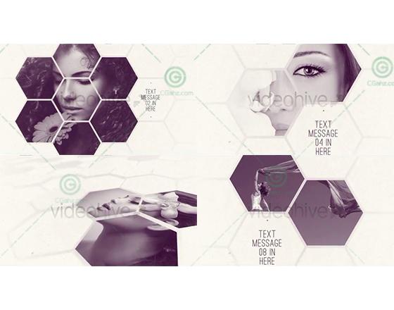 清新优雅的蜂巢拼接式图文内容展示AE工程