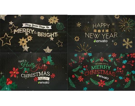 生动有趣的手绘圣诞元素悬挂式标题排版动画AE模板