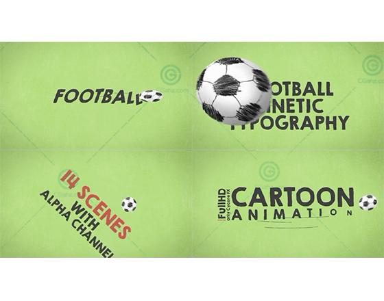 卡通足球主题的MG文字版式动画AE模板