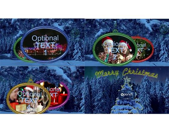 悬挂在雪松树枝上的圆形圣诞影像展示AE模板