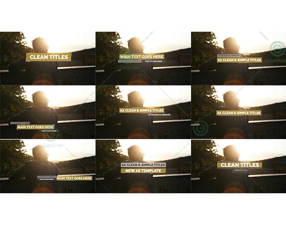 11款简约扁平化设计的字幕条进出动画素材AE源文件