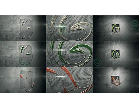 石壁上的轮廓浮雕标志演绎AE模板
