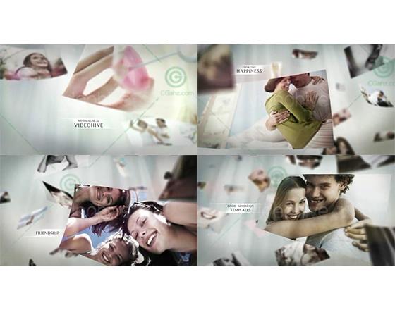 幸福记忆梦幻温柔的漂浮相册AE模板
