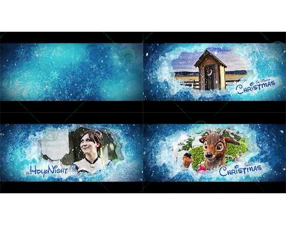 模拟冰雪奇缘的圣诞节开场片头AE模板