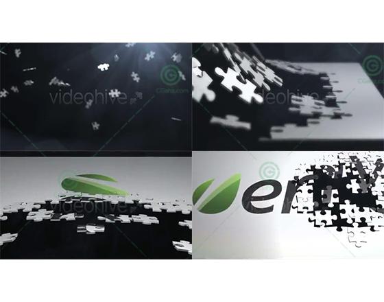 无数拼图掉落并汇聚拼接成logo标志的AE模板