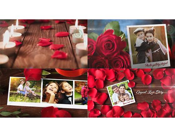 烛光玫瑰中的浪漫爱情故事AE相册模板