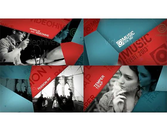 简约时尚的图形拼接音乐节宣传片AE包装模板