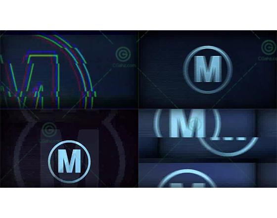 简短快速的故障扭曲标志演绎开场AE模板