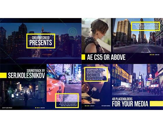线框内容与分屏展示的城市宣传片AE工程