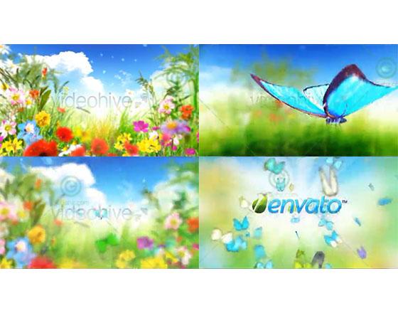 2款美丽的春夏蝴蝶logo揭示片头AE模板