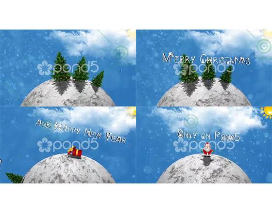 圣诞雪中的白色旋转地球AE模板