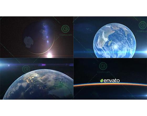 震撼大气的地球地平线logo揭示开场AE模板