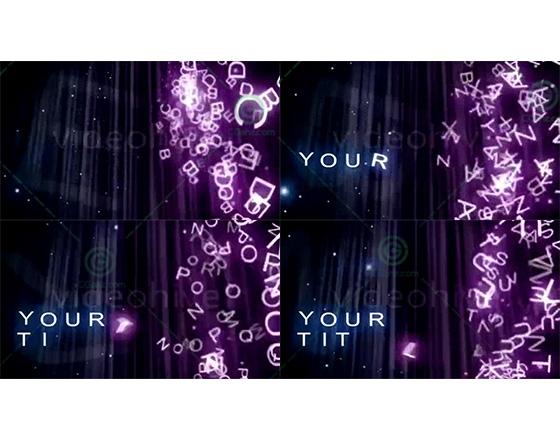 如湍流般飞散旋转的紫色文字团AE模板