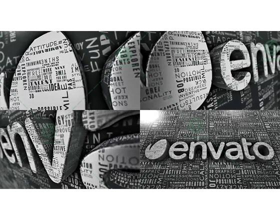 利用E3D插件創建布滿文字的三維擠出標志AE模板