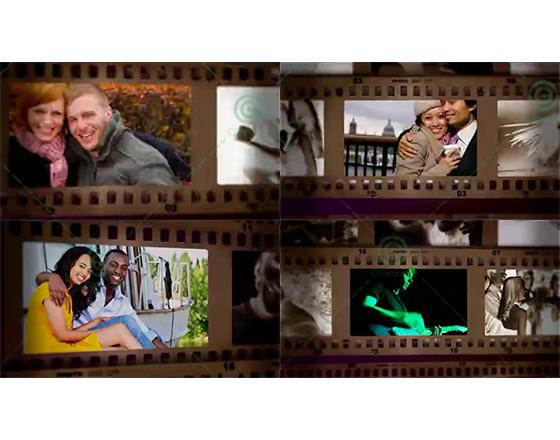 经典相机胶卷风格的相片集展示AE工程